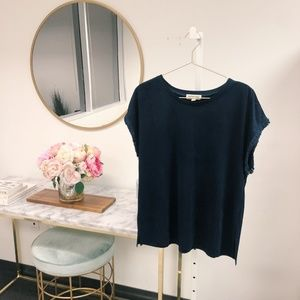 Bloomingdales Cotton Candy Navy Suede Top